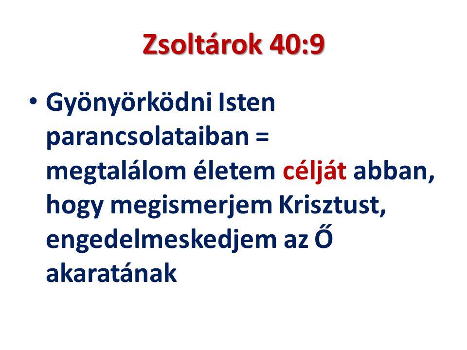 Zsoltárok 40:9 Gyönyörködni Isten parancsolataiban = megtalálom életem célját abban, hogy megismerjem Krisztust, engedelmeskedjem az Ő akaratának