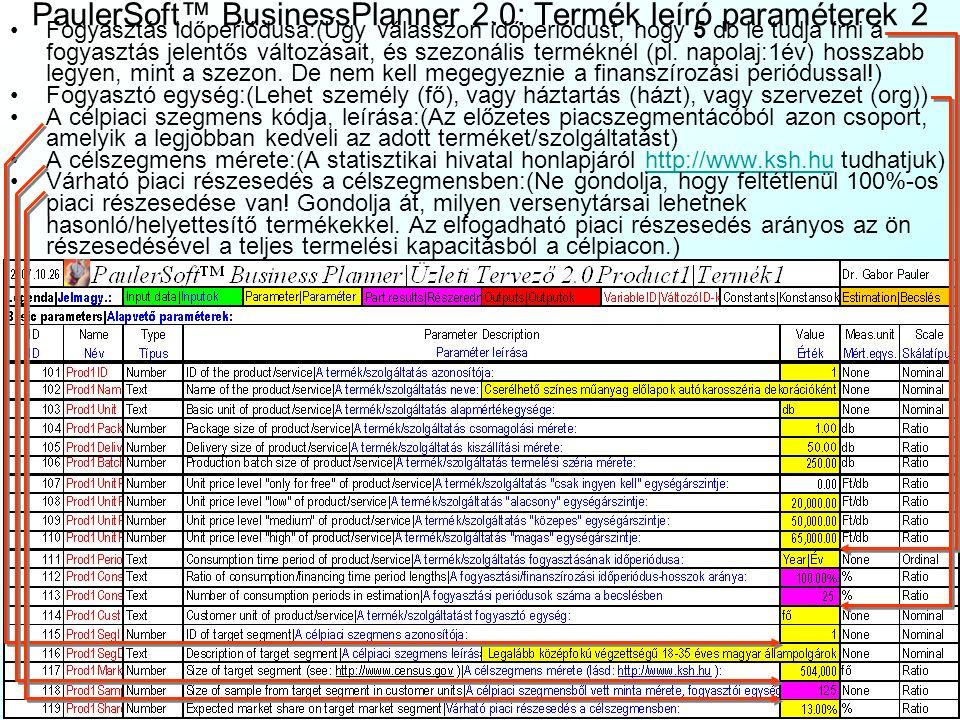 PaulerSoft™ BusinessPlanner 2.0: Termék leíró paraméterek 1 A Rendszer 4 munkalapja (Prod1Param|Term1Param, Prod1Data|Term1Adat, Prod1Demand|Term1Kere