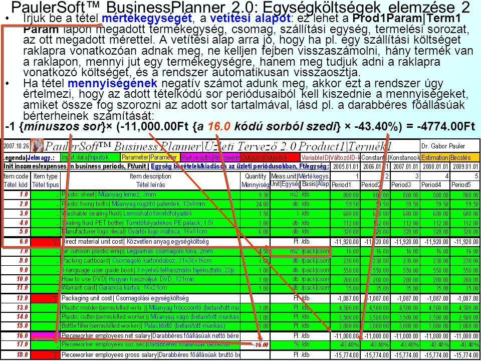 PaulerSoft™ BusinessPlanner 2.0: Egységköltségek elemzése 1 Ha már vannak keresleti függvényeink, és meghatározzuk hozzá a termék egységkölt- ségeit,