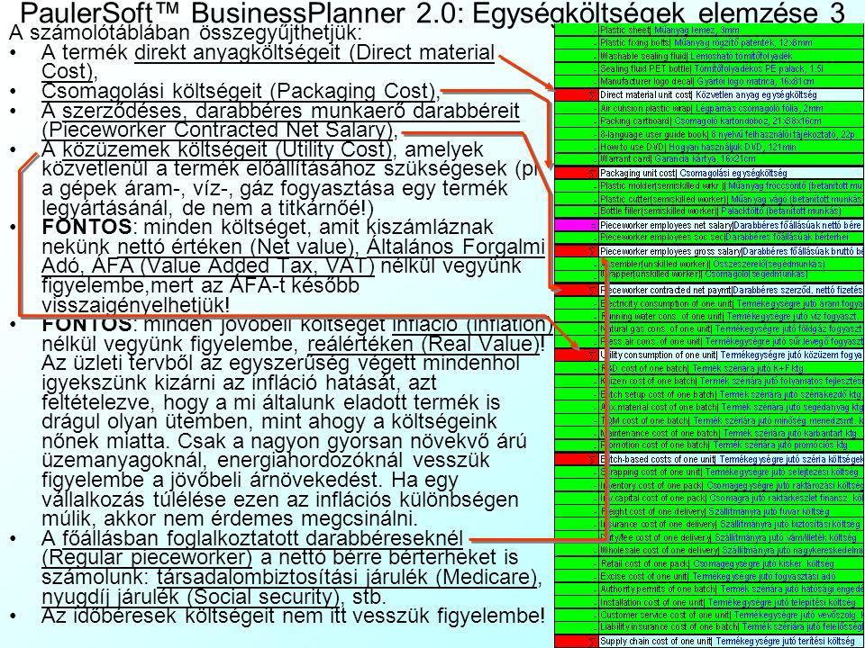 PaulerSoft™ BusinessPlanner 2.0: Egységköltségek elemzése 2 Írjuk be a tétel mértékegységét, a vetítési alapot: ez lehet a Prod1Param|Term1 Param lapo