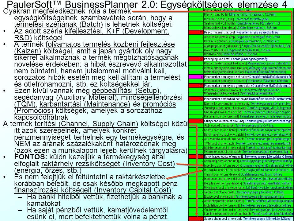 PaulerSoft™ BusinessPlanner 2.0: Egységköltségek elemzése 3 A számolótáblában összegyűjthetjük: A termék direkt anyagköltségeit (Direct material Cost)