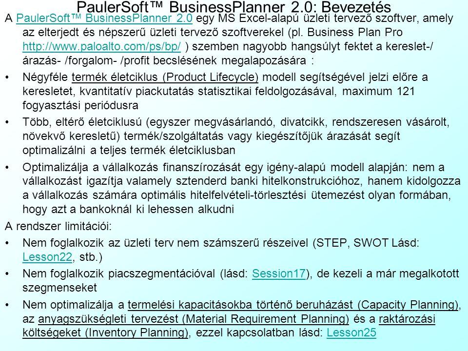 14. Házi feladat ellenőrzése: SPSS adatbázis A kereslet, az árazás, forgalom, profit és megtérülés elemzése PaulerSoft™ BusinessPlanner 2.0-val: Bevez
