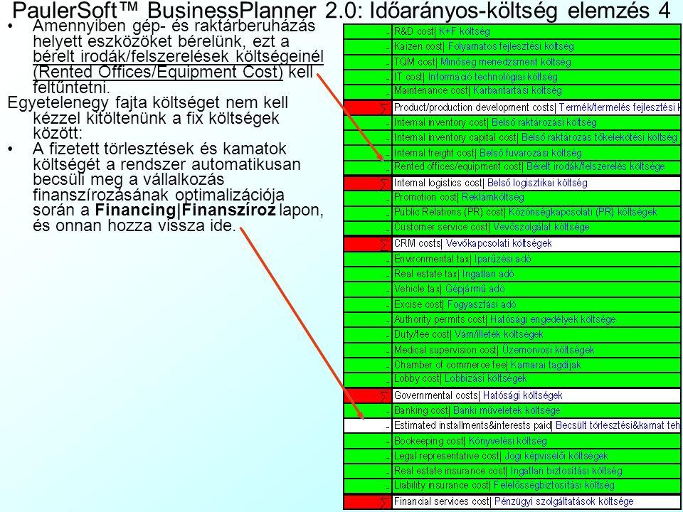 PaulerSoft™ BusinessPlanner 2.0: Időarányos-költség elemzés 3 Ezután a TimeBasedCost|IdőArányKölts lapon megjelenik szinte az összes, az egységköltség
