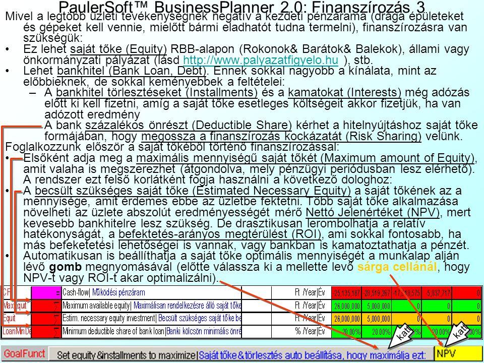PaulerSoft™ BusinessPlanner 2.0: Finanszírozás 2 A valóságban a cégek gyakran próbálják csökkenteni az adózás előtti eredményüket fiktív költségek kre