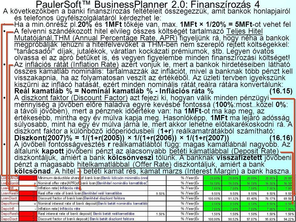 PaulerSoft™ BusinessPlanner 2.0: Finanszírozás 3 Mivel a legtöbb üzleti tevékenységnek negatív a kezdeti pénzárama (drága épületeket és gépeket kell v