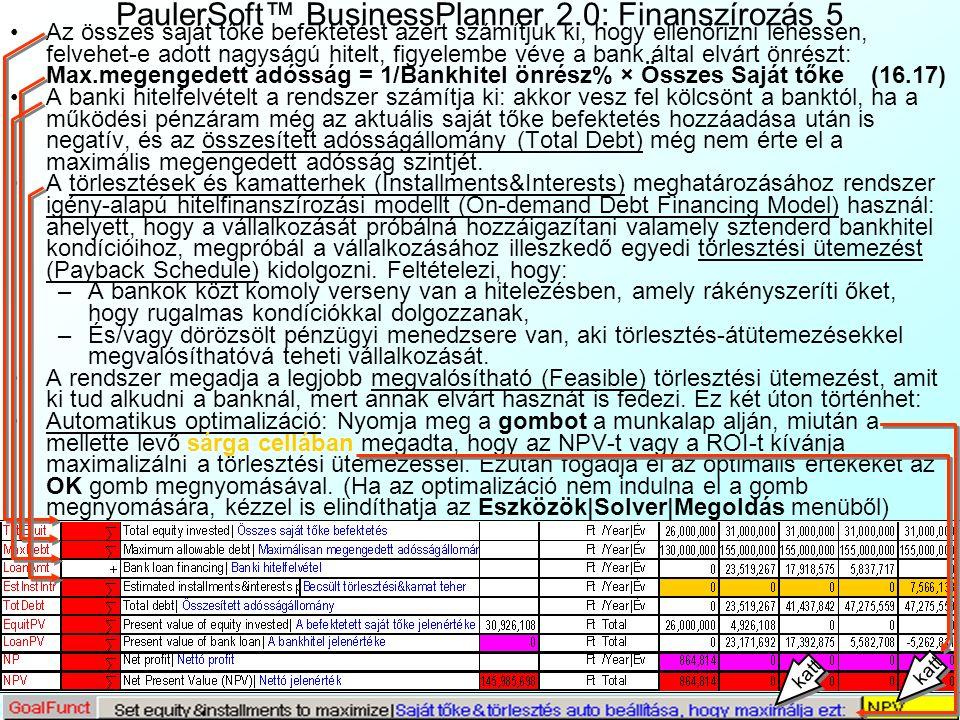 PaulerSoft™ BusinessPlanner 2.0: Finanszírozás 4 A következőkben a banki finanszírozás feltételeit összegezzük, amit bankok honlapjairól és telefonos