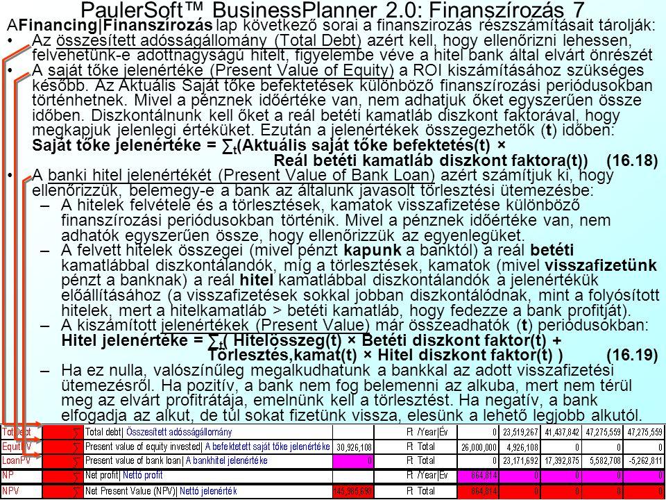 PaulerSoft™ BusinessPlanner 2.0: Finanszírozás 6 Manuális állítás: Ritkán előfordul, hogy az optimalizáció nem konvergál. Ebben az esetben kézzel is m