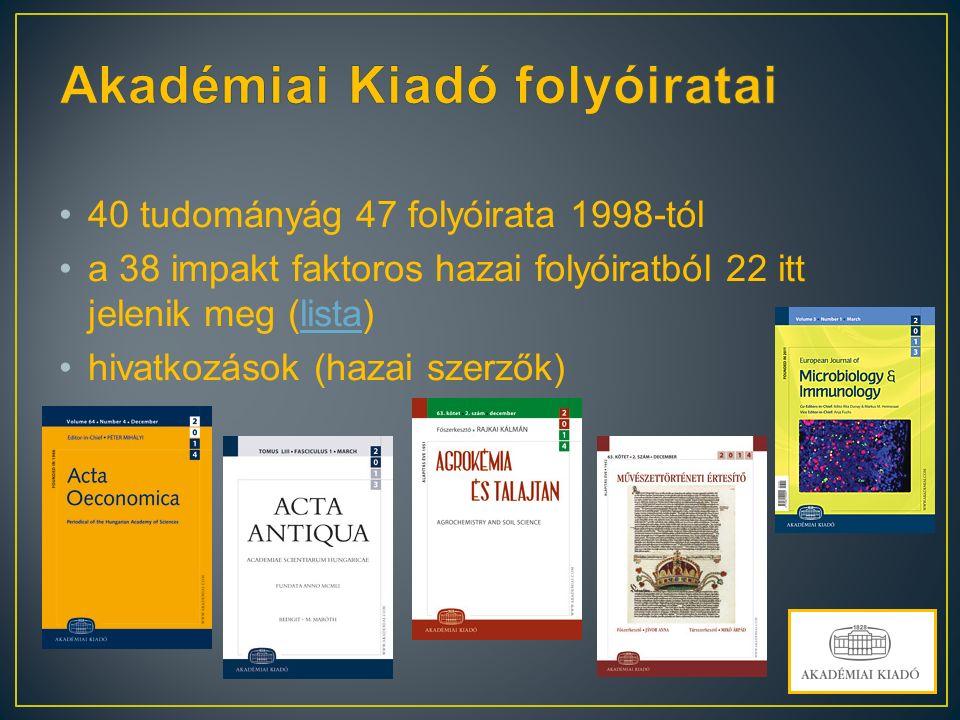 40 tudományág 47 folyóirata 1998-tól a 38 impakt faktoros hazai folyóiratból 22 itt jelenik meg (lista)lista hivatkozások (hazai szerzők)