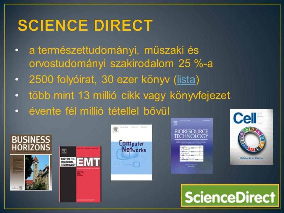 a természettudományi, műszaki és orvostudományi szakirodalom 25 %-a 2500 folyóirat, 30 ezer könyv (lista)lista több mint 13 millió cikk vagy könyvfejezet évente fél millió tétellel bővül