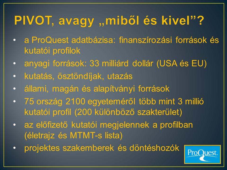 a ProQuest adatbázisa: finanszírozási források és kutatói profilok anyagi források: 33 milliárd dollár (USA és EU) kutatás, ösztöndíjak, utazás állami
