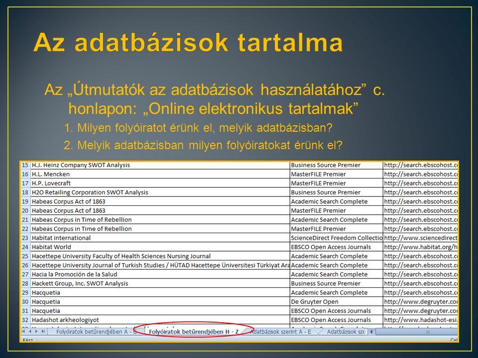 """Az """"Útmutatók az adatbázisok használatához"""" c. honlapon: """"Online elektronikus tartalmak"""" 1. Milyen folyóiratot érünk el, melyik adatbázisban? 2. Melyi"""