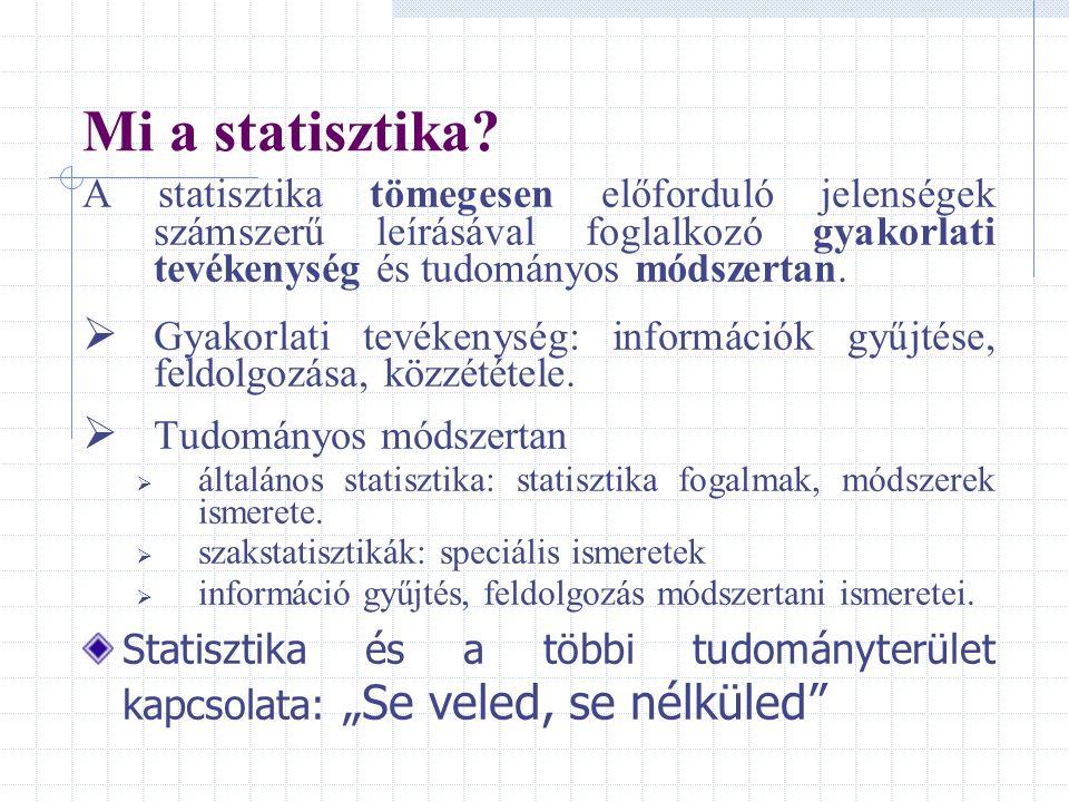 Mi a statisztika? A statisztika tömegesen előforduló jelenségek számszerű leírásával foglalkozó gyakorlati tevékenység és tudományos módszertan.  Gya