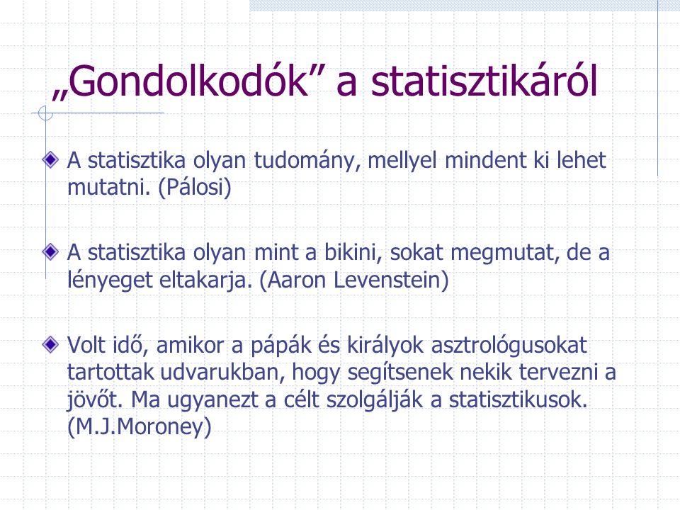 Adatok összehasonlításának lehetőségei Különbségképzés Mértékegységtartó Hányados-képzés: indexszám (viszonyszám) Azonos mértékegységű adatoknál: % Különböző mértékegységű adatoknál új egység: (Kg/fő; ezer Ft/óra) Probléma: Százalék vagy százalékpont.