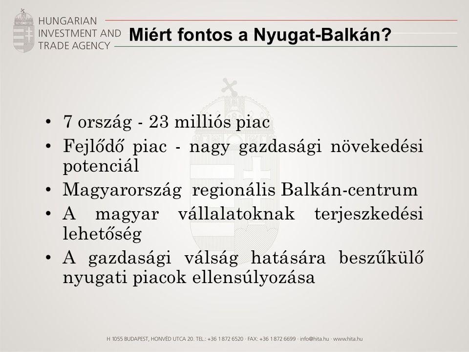 Külgazdasági Stratégia és a Nyugat-Balkán 2020-ig szóló új Külgazdasági Stratégia Magyar export megduplázása (2020-ban 140 Mrd euró) Az exporton belül a KKV-k aktivitásának növelése A beáramló külföldi működő-tőke (FDI) megduplázása A Magyarországról külföldre irányuló befektetések megduplázása Termékdiverzifikáció a külgazdaság-fejlesztés ágazati fókuszai mentén Földrajzi diverzifikáció 4 irányban Erőteljes keleti nyitás Erős rácsatlakozás a nagy európai exportőrökre, EU és EFTA országok tekintetében piaci pozícióink megtartása, ill.
