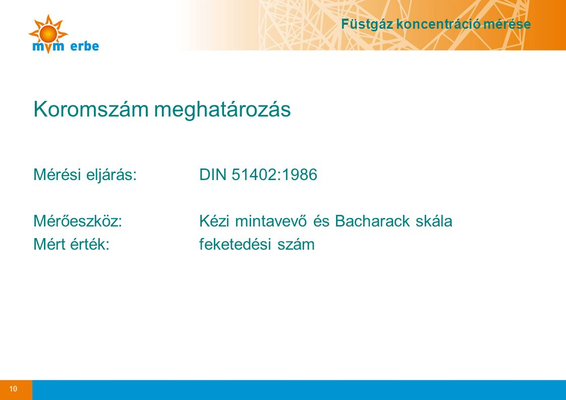 Koromszám meghatározás Mérési eljárás:DIN 51402:1986 Mérőeszköz:Kézi mintavevő és Bacharack skála Mért érték: feketedési szám 10 Füstgáz koncentráció