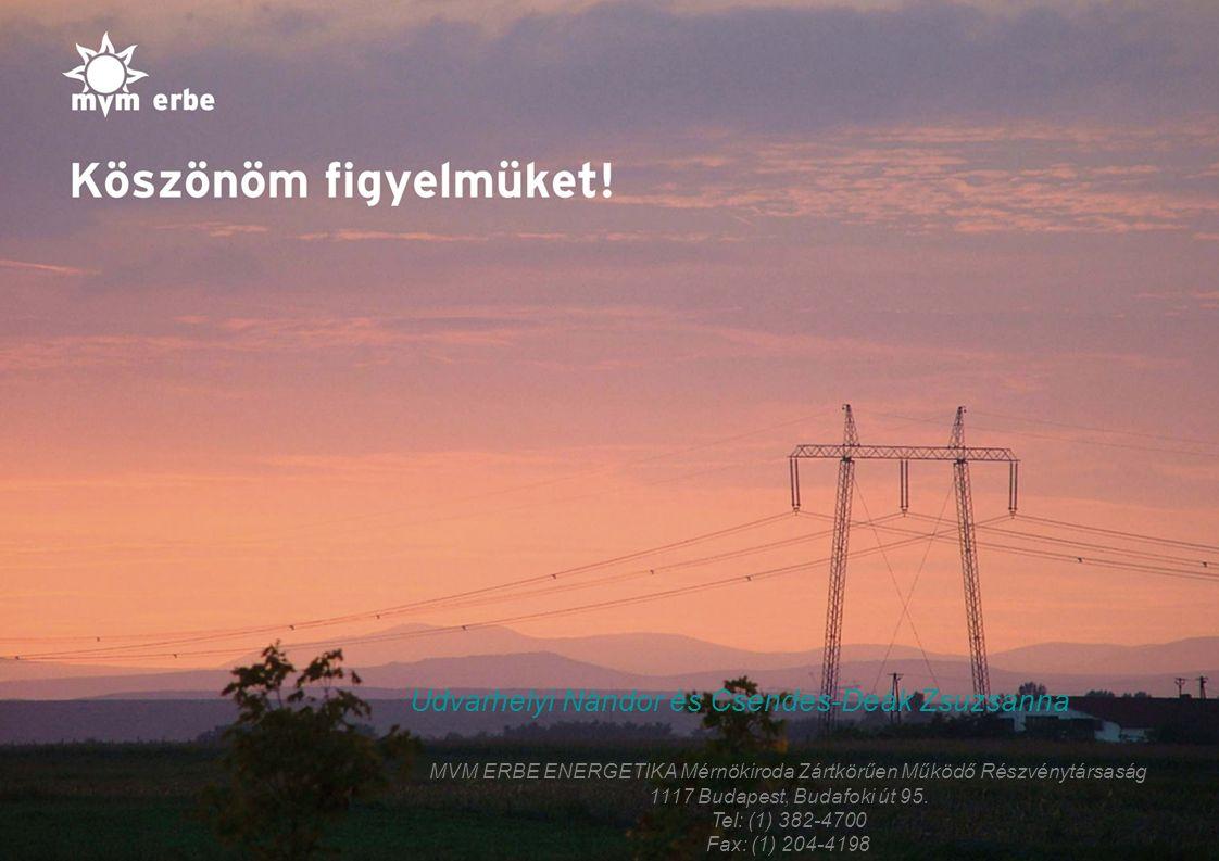 13 Udvarhelyi Nándor és Csendes-Deák Zsuzsanna MVM ERBE ENERGETIKA Mérnökiroda Zártkörűen Működő Részvénytársaság 1117 Budapest, Budafoki út 95. Tel: