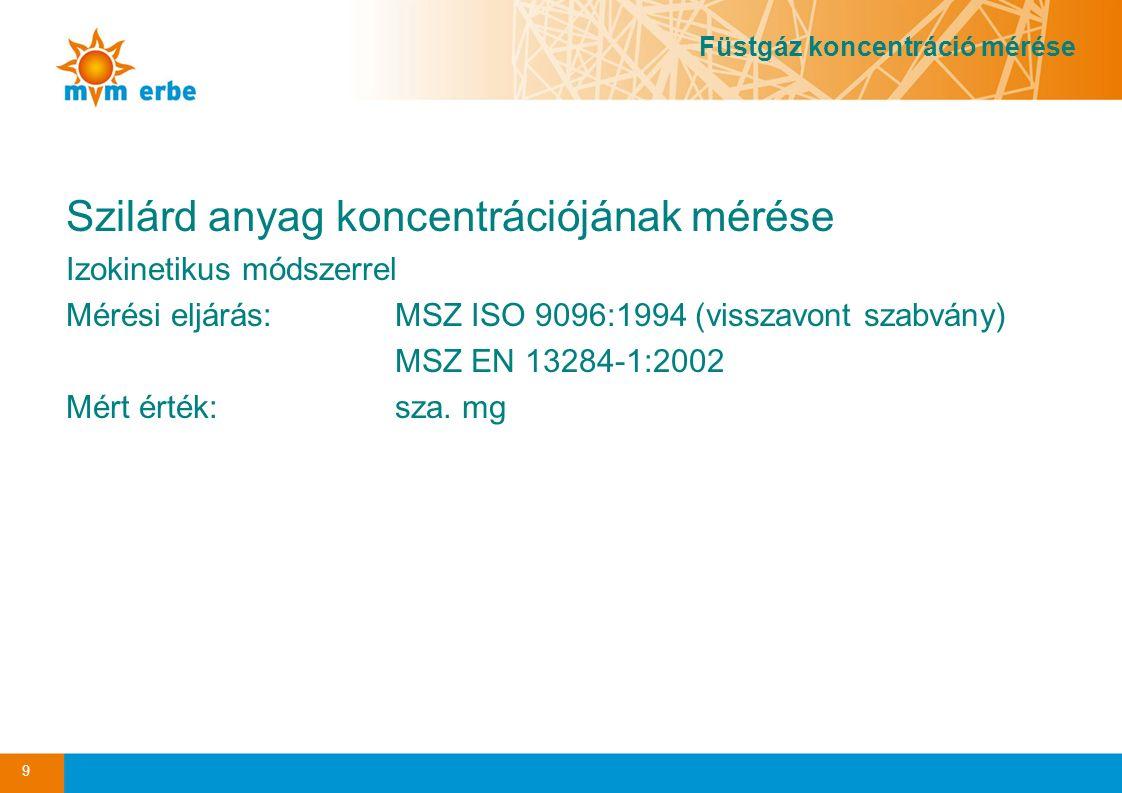 Szilárd anyag koncentrációjának mérése Izokinetikus módszerrel Mérési eljárás:MSZ ISO 9096:1994 (visszavont szabvány) MSZ EN 13284-1:2002 Mért érték: