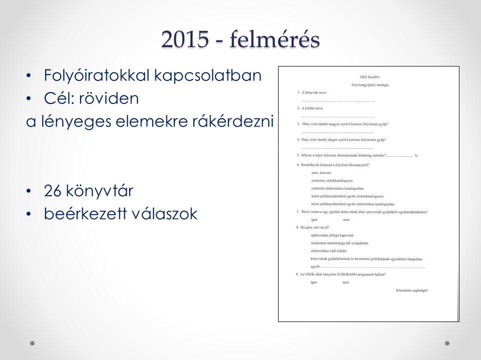 2015 - felmérés Folyóiratokkal kapcsolatban Cél: röviden a lényeges elemekre rákérdezni 26 könyvtár beérkezett válaszok