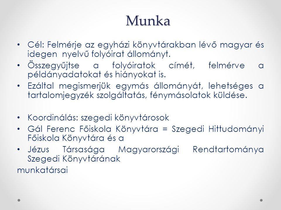 Munka Cél: Felmérje az egyházi könyvtárakban lévő magyar és idegen nyelvű folyóirat állományt. Összegyűjtse a folyóiratok címét, felmérve a példányada