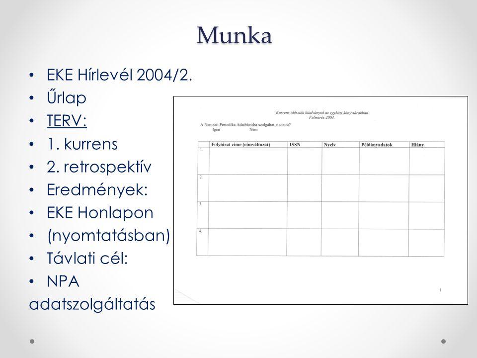 Munka EKE Hírlevél 2004/2. Űrlap TERV: 1. kurrens 2. retrospektív Eredmények: EKE Honlapon (nyomtatásban) Távlati cél: NPA adatszolgáltatás