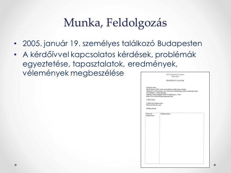 Munka, Feldolgozás 2005. január 19. személyes találkozó Budapesten A kérdőívvel kapcsolatos kérdések, problémák egyeztetése, tapasztalatok, eredmények