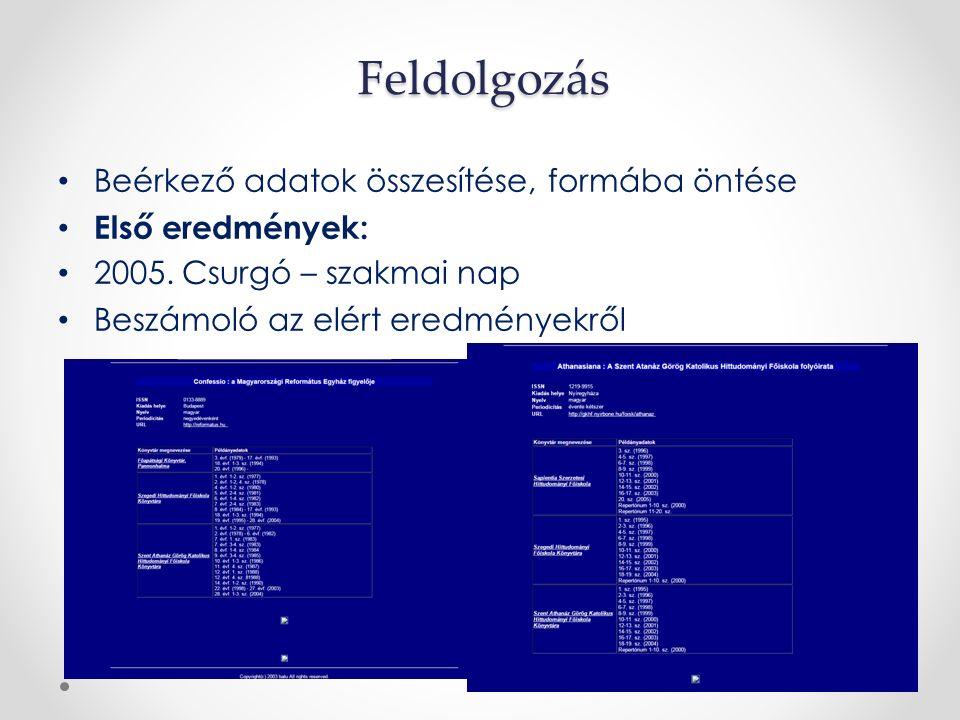 Feldolgozás Beérkező adatok összesítése, formába öntése Első eredmények: 2005.