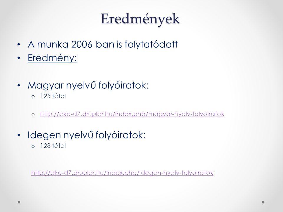 Eredmények A munka 2006-ban is folytatódott Eredmény: Magyar nyelvű folyóiratok: o 125 tétel o http://eke-d7.drupler.hu/index.php/magyar-nyelv-folyoiratok http://eke-d7.drupler.hu/index.php/magyar-nyelv-folyoiratok Idegen nyelvű folyóiratok: o 128 tétel http://eke-d7.drupler.hu/index.php/idegen-nyelv-folyoiratok