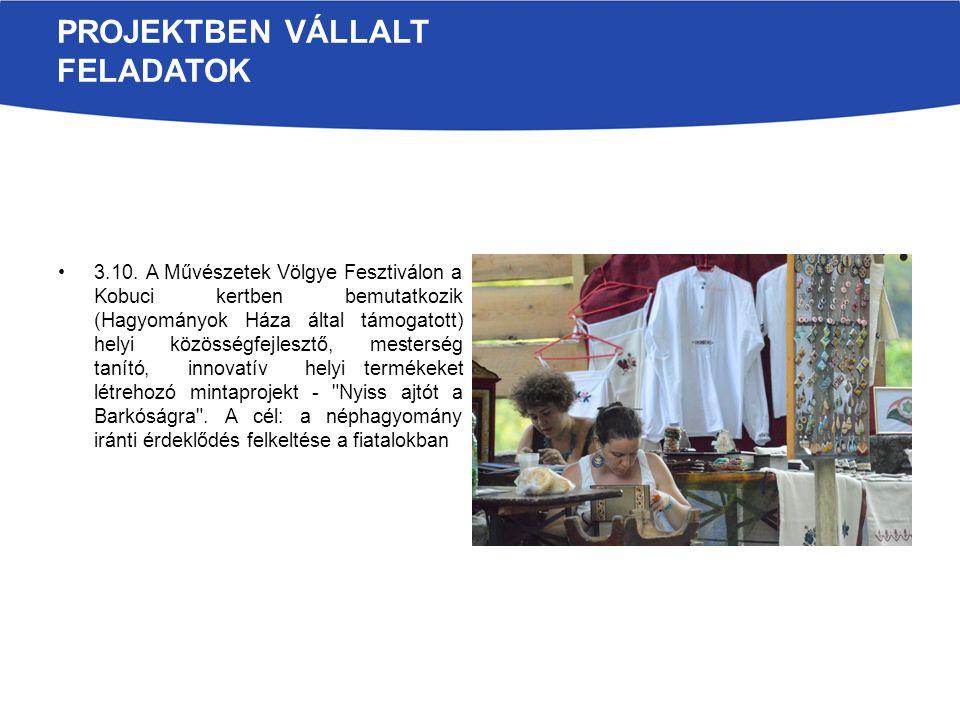 PROJEKTBEN VÁLLALT FELADATOK 3.10. A Művészetek Völgye Fesztiválon a Kobuci kertben bemutatkozik (Hagyományok Háza által támogatott) helyi közösségfej