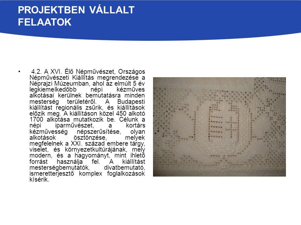 PROJEKTBEN VÁLLALT FELAATOK 4.2. A XVI. Élő Népművészet, Országos Népművészeti Kiállítás megrendezése a Néprajzi Múzeumban, ahol az elmúlt 5 év legkie