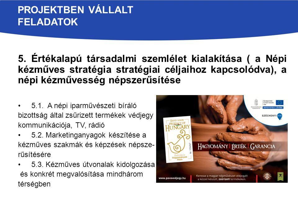 5. Értékalapú társadalmi szemlélet kialakítása ( a Népi kézműves stratégia stratégiai céljaihoz kapcsolódva), a népi kézművesség népszerűsítése 5.1. A