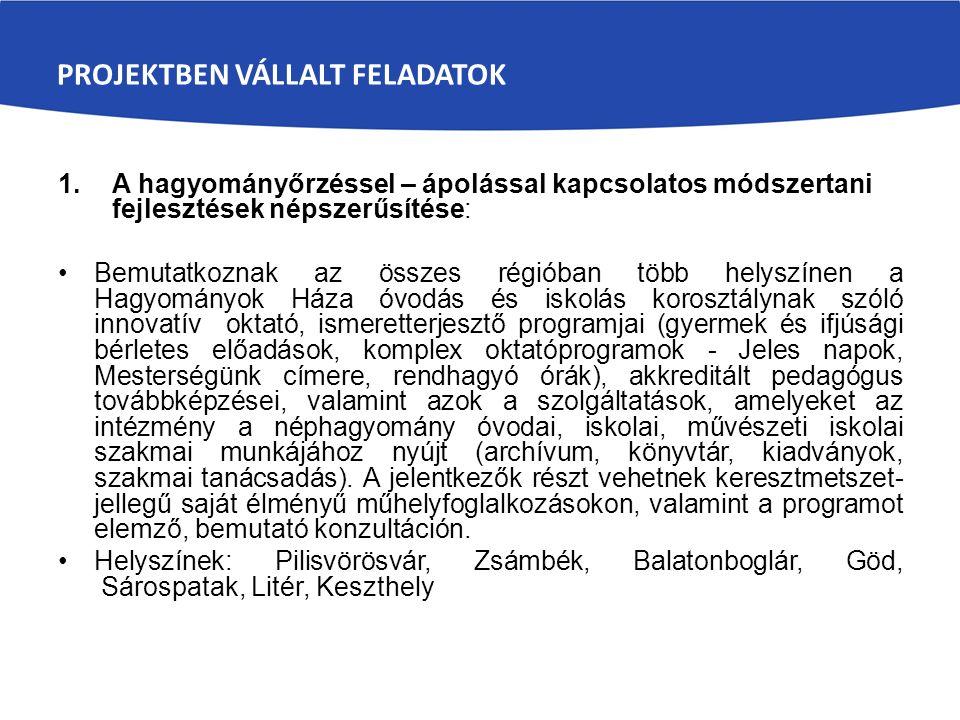 PROJEKTBEN VÁLLALT FELADATOK 1.A hagyományőrzéssel – ápolással kapcsolatos módszertani fejlesztések népszerűsítése: Bemutatkoznak az összes régióban t