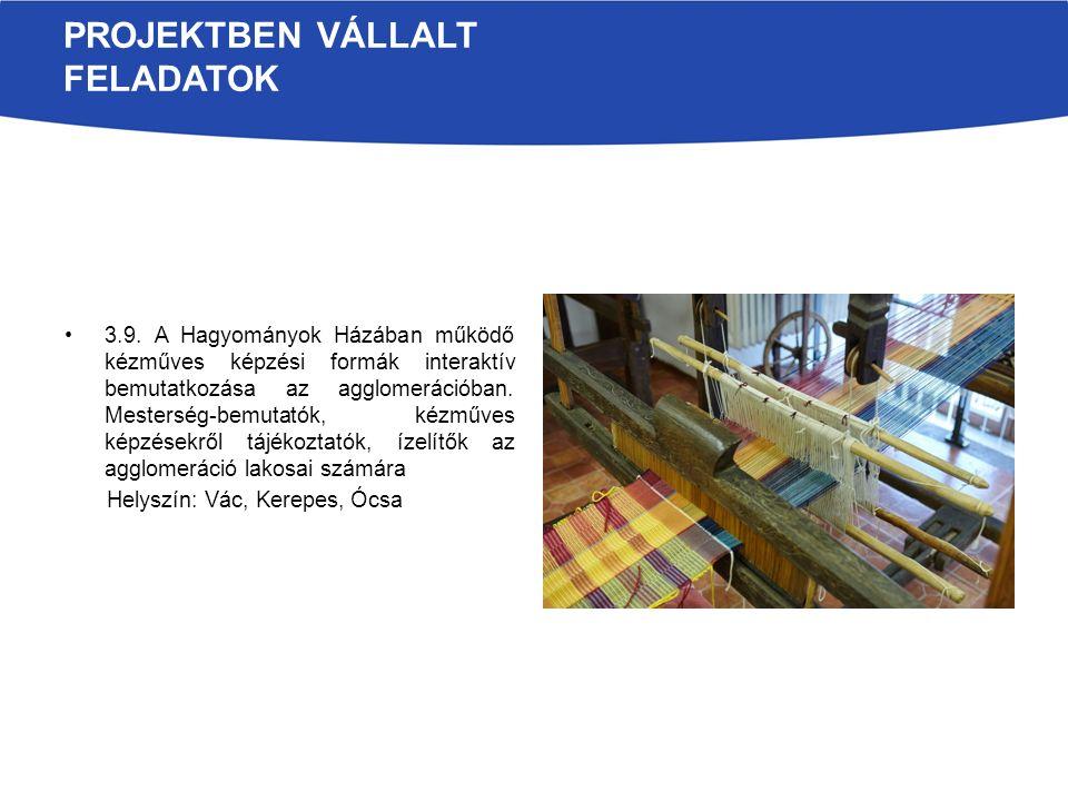 PROJEKTBEN VÁLLALT FELADATOK 3.9. A Hagyományok Házában működő kézműves képzési formák interaktív bemutatkozása az agglomerációban. Mesterség-bemutató