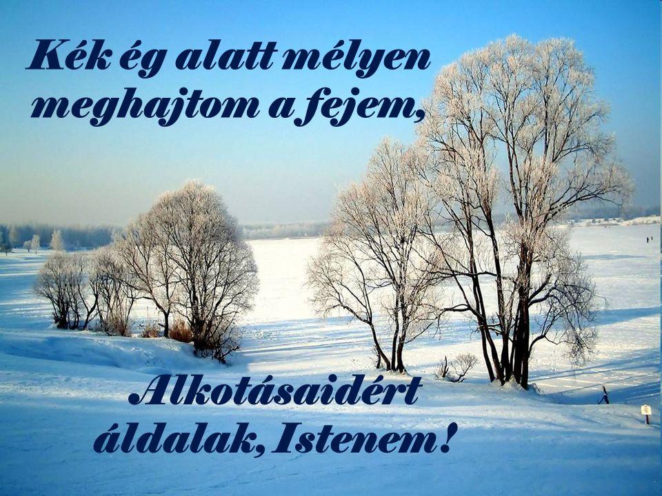 Kék ég alatt mélyen meghajtom a fejem, Alkotásaidért áldalak, Istenem!