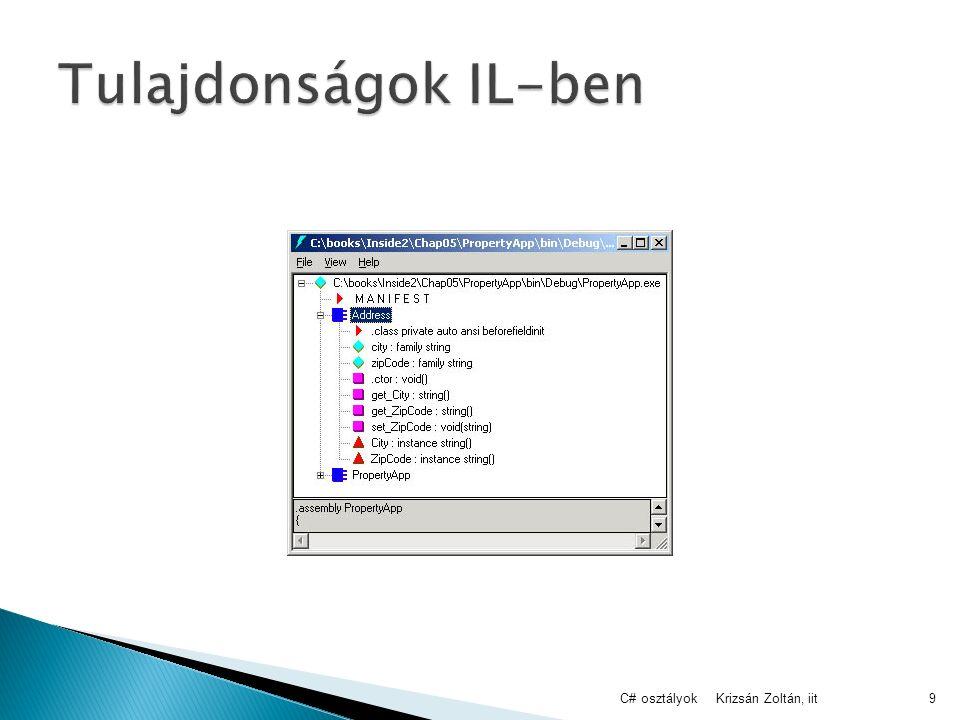Krizsán Zoltán, iitC# osztályok9