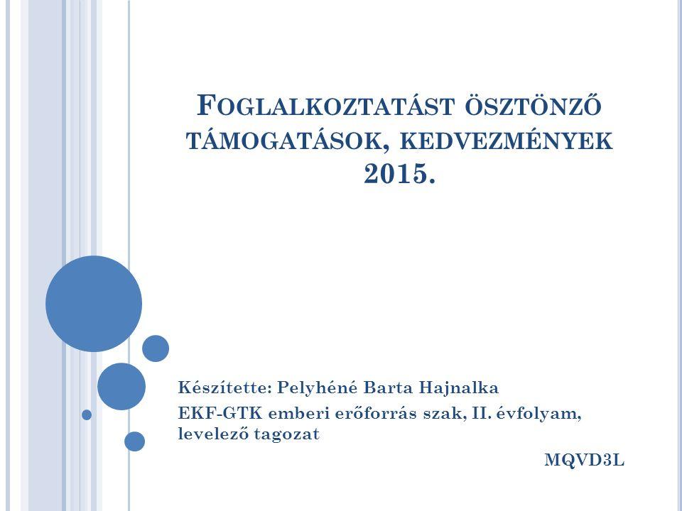 F OGLALKOZTATÁST ÖSZTÖNZŐ TÁMOGATÁSOK, KEDVEZMÉNYEK 2015.