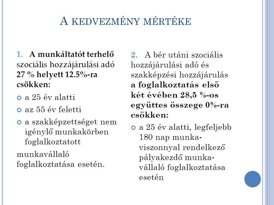 A KEDVEZMÉNY MÉRTÉKE 1.