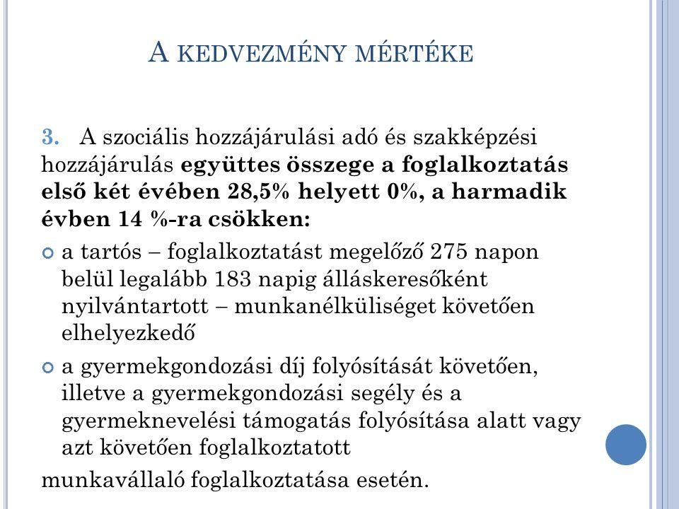 A KEDVEZMÉNY MÉRTÉKE 3.