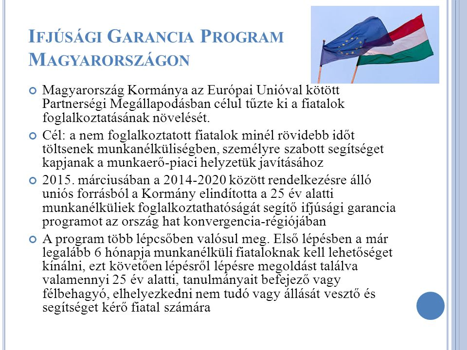 Magyarország Kormánya az Európai Unióval kötött Partnerségi Megállapodásban célul tűzte ki a fiatalok foglalkoztatásának növelését.