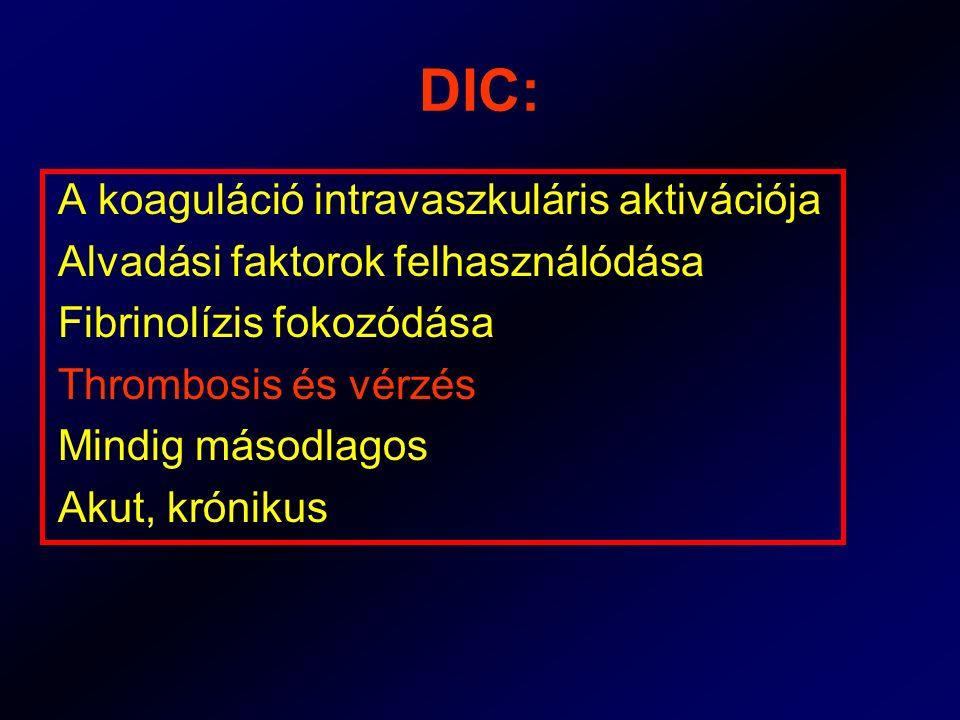 DIC: A koaguláció intravaszkuláris aktivációja Alvadási faktorok felhasználódása Fibrinolízis fokozódása Thrombosis és vérzés Mindig másodlagos Akut,
