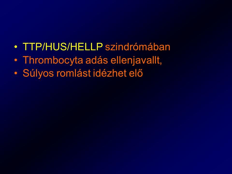 TTP/HUS/HELLP szindrómában Thrombocyta adás ellenjavallt, Súlyos romlást idézhet elő