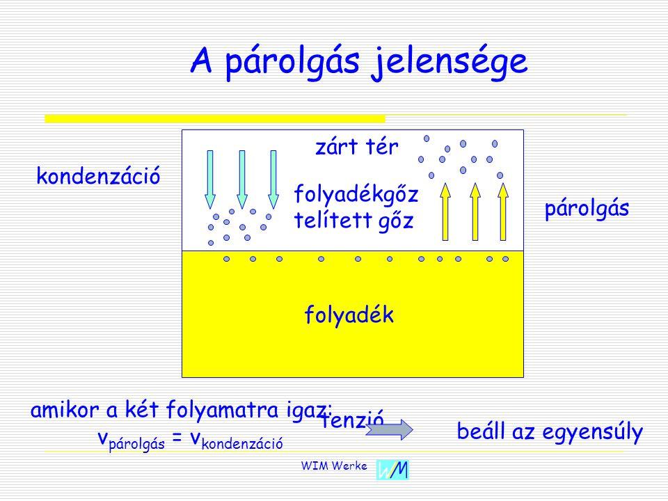 WIM Werke A párolgás jelensége párolgás kondenzáció zárt tér folyadék folyadékgőz telített gőz tenzió amikor a két folyamatra igaz: v párolgás = v kon