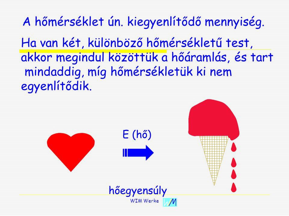 WIM Werke E (hő) hőegyensúly A hőmérséklet ún. kiegyenlítődő mennyiség. Ha van két, különböző hőmérsékletű test, akkor megindul közöttük a hőáramlás,