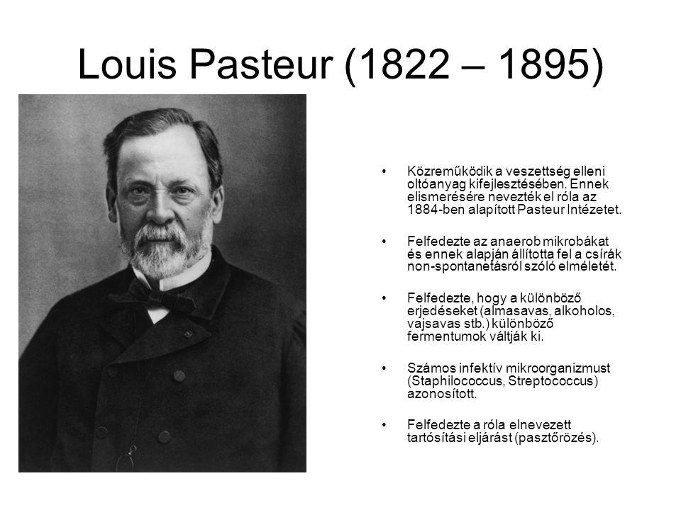 Louis Pasteur (1822 – 1895) Közreműködik a veszettség elleni oltóanyag kifejlesztésében.