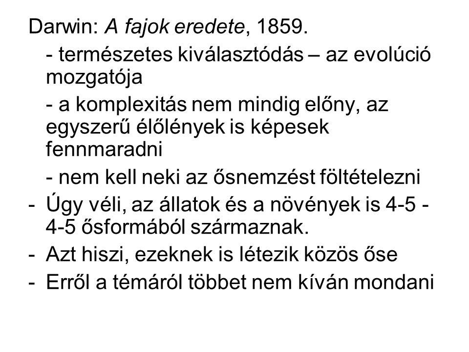 Darwin: A fajok eredete, 1859.