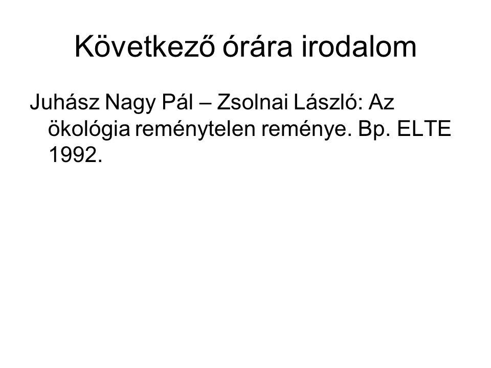 Következő órára irodalom Juhász Nagy Pál – Zsolnai László: Az ökológia reménytelen reménye.