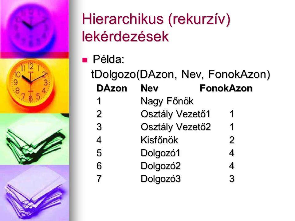 Hierarchikus (rekurzív) lekérdezések Példa: Példa: tDolgozo(DAzon, Nev, FonokAzon) tDolgozo(DAzon, Nev, FonokAzon) DAzonNevFonokAzon 1Nagy Főnök 2Oszt