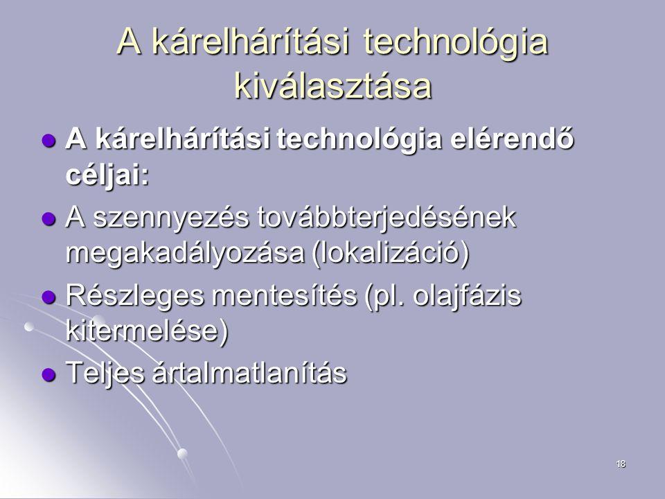 18 A kárelhárítási technológia kiválasztása A kárelhárítási technológia elérendő céljai: A kárelhárítási technológia elérendő céljai: A szennyezés tov