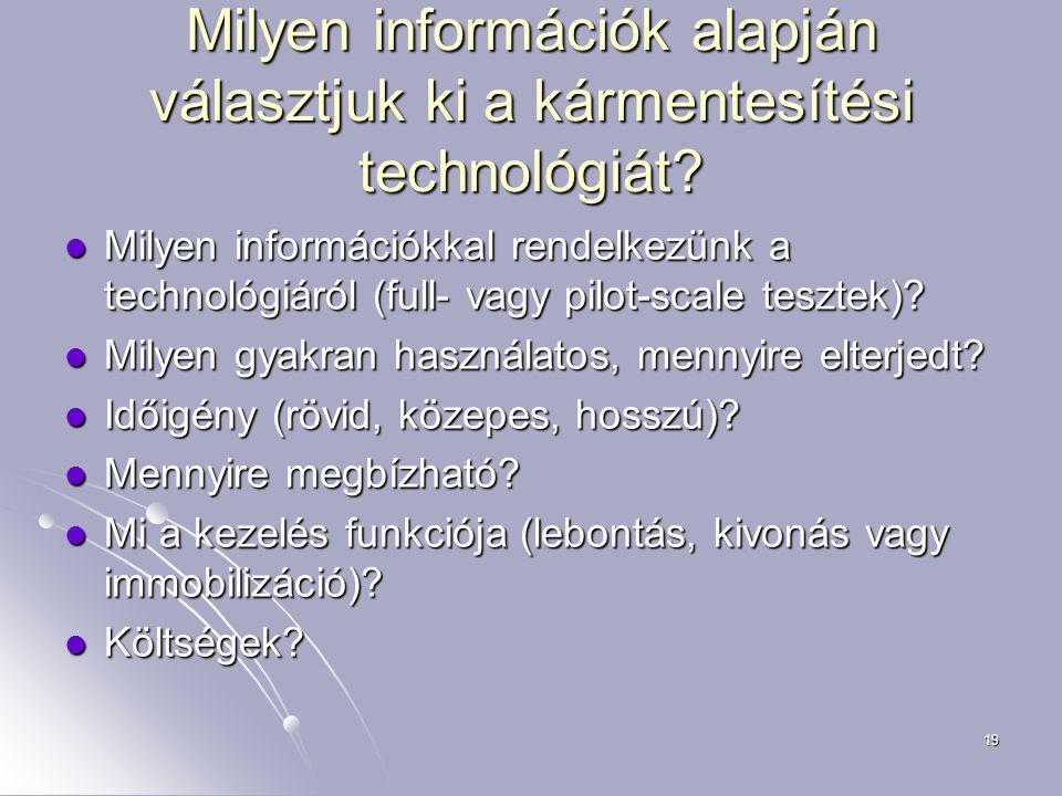 19 Milyen információk alapján választjuk ki a kármentesítési technológiát? Milyen információkkal rendelkezünk a technológiáról (full- vagy pilot-scale