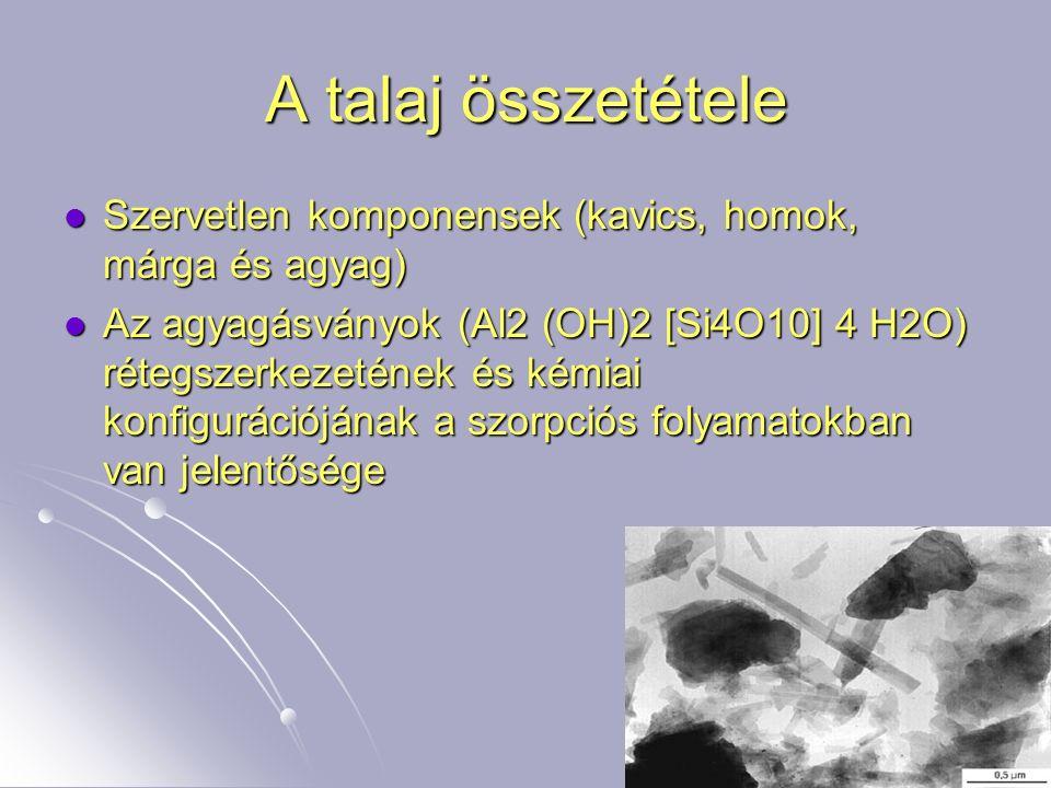 3 A talaj összetétele Szervetlen komponensek (kavics, homok, márga és agyag) Szervetlen komponensek (kavics, homok, márga és agyag) Az agyagásványok (