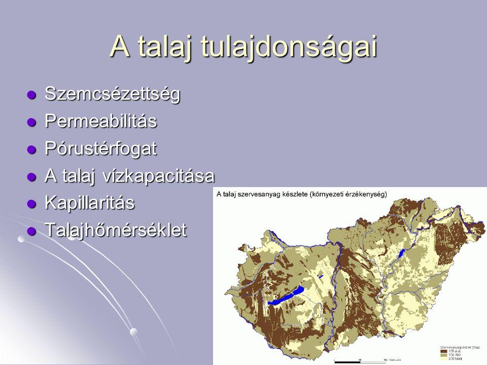 6 A talaj tulajdonságai Szemcsézettség Szemcsézettség Permeabilitás Permeabilitás Pórustérfogat Pórustérfogat A talaj vízkapacitása A talaj vízkapacit